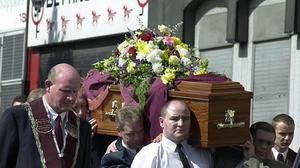 The funeral procession of murder victim Bobby Mahood