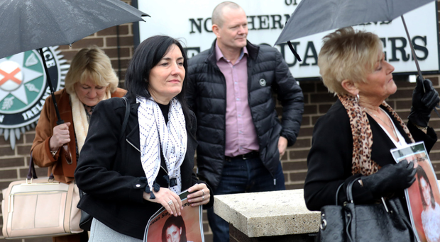 Jean Smyth-Campbell's daughter, Sharon McVicker (second from left), and family members leave yesterday's meeting with the Chief Constable in relation to the murder of her mother 47 years ago