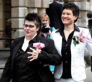 Grainne and Shannon at their civil ceremony in Belfast City Hall in 2005