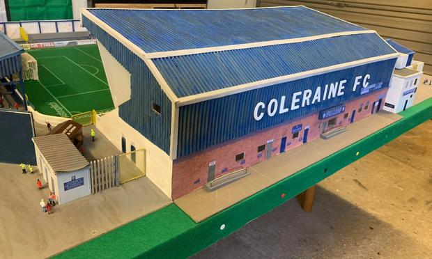 Small scale: Dave Reed's miniature version of Coleraine FC's home
