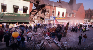 The devastation on the Shankill Road in the aftermath of the 1993 IRA bombing of Frizzell's fish shop