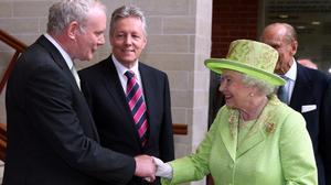 The Queen shakes hands with Martin McGuinness