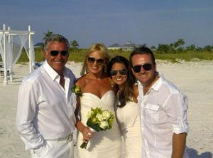 Alison and Darren on their wedding day, joined by golfer Graeme McDowell and his wife Kristin
