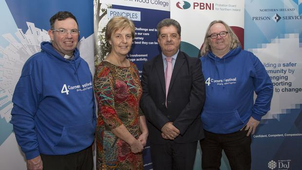 From left: Fr Martin Magill, Cheryl Lamont (NI Probation Board), Ronnie Armour (NI Prison Service) and Rev Steve Stockman
