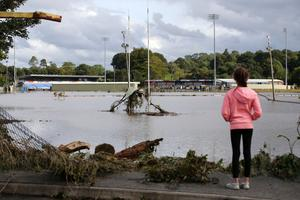 Rugby pitches near the River Faughan in Drumahoe, Co Londonderry, which were flooded in August 2017