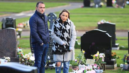 Amy Reid with brother Ryan at Shona's graveside