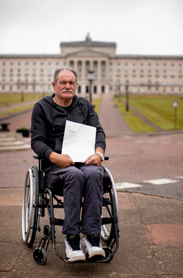 Christy Cummings before delivering a letter to the Northern Ireland Office at Stormont House yesterday