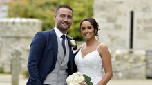 So happy: Danielle McDowell and Jonny Tuffey on their wedding day at Killeavy Castle near Newry