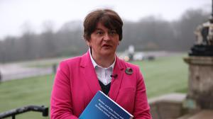First Minister Arlene Foster speaking to the media at Stormont following the publication of the report (Liam McBurney/PA)