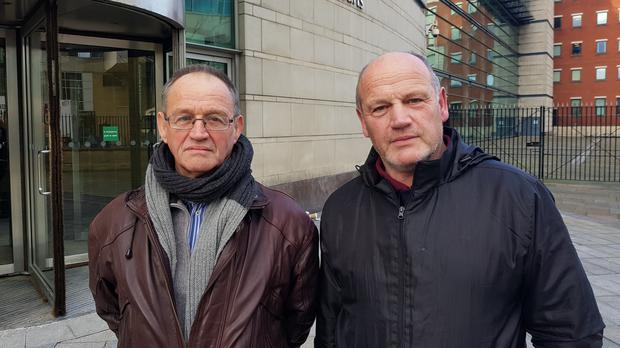 David Thompson, left, and his brother Erne Thompson were in court in Belfast for an inquest hearing into the death of their mother Kathleen Thompson (Rebecca Black/PA)