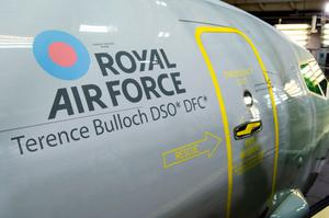 Squadron Leader Terence Bulloch's name on side of aircraft
