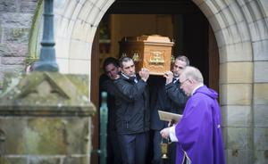 The funeral of James McAlister takes place at St Mary's Parish Church in Cushendall yesterday. He died at the funeral of his wife Kathleen
