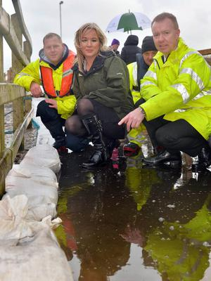 Then-Agriculture Minister Michelle O'Neill visits Enniskillen after the flood