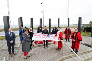 From left, Junior Minister Gordon Lyons, First Minister Arlene Foster, Anne Donaghy, CEO of Mid & East Antrim Borough Council, HM Lord Lieutenant of Co Antrim David McCorkell, Mayor Cllr Peter Johnston, and Deputy Mayor Cllr Andrew Wilson