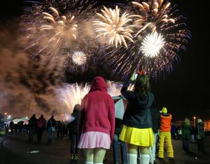 Fireworks explode in the sky over the Titanic slipway last night as thousands of people enjoy Belfast City Council's Halloween Metro Monster Mash