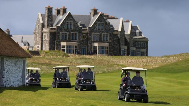 Golf buggies on the Doonbeg links course (Niall Carson/PA)
