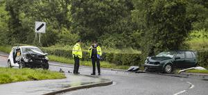 Police attend the road traffic collision on Station Road, Saintfield