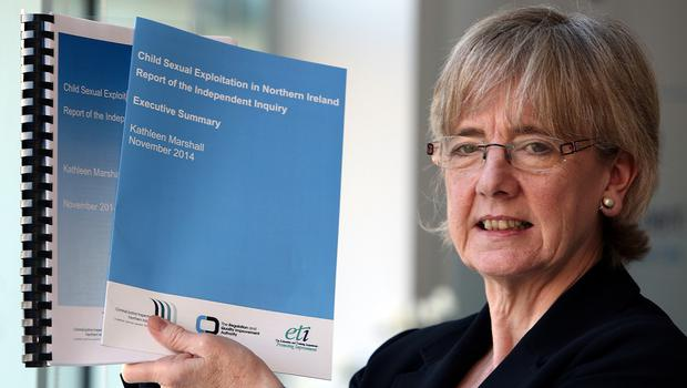 Former Scottish commissioner for children and young people Professor Kathleen Marshall unveils her report in Belfast