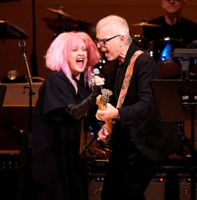 Cyndi Lauper (pictured), Debbie Harry, former REM singer Michael Stipe and Wayne Coyne and The Flaming Lips were among the performers at The Music of David Bowie at Carnegie Hall in New York