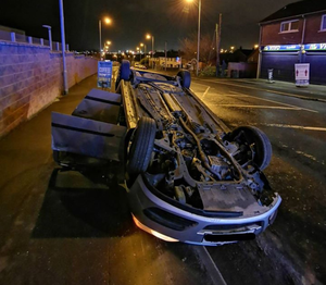 The crash scene at Mill Road, Newtownabbey, early yesterday morning