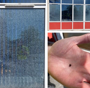 Pictures posted by the PSNI of the damage caused at Tullygally Primary School and one of the pellets fired from the gun