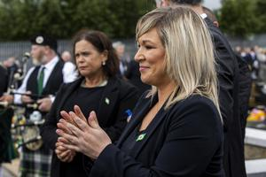 Deputy First Minister Michelle O'Neill and Sinn Fein President Mary Lou McDonald at the ceremony for Bobby Storey at Milltown Cemetery in west Belfast (Liam McBurney/PA)