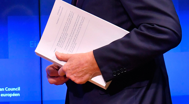 Michel Barnier with the withdrawal agreement