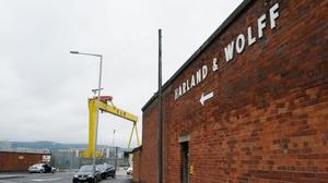 The entrance to Harland and Wolff shipyard in Belfast.