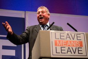Sammy Wilson at a rally in Bournemouth - Oct 2018