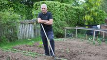 Jim Kerr with his vegetable patch in his front garden in Dungannon
