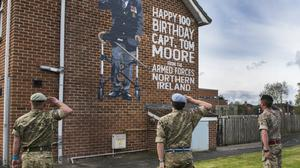 Soldiers at Aldergrove Flying Station in Co Antrim saluted Captain Tom Moore with a mural donated by Belfast Mural Arts (Crown Copyright/PA)