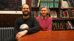 Robina Ellis, widow of James Ellis, with their son Toto at the Linen Hall Library
