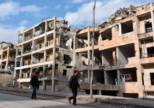 Buildings in Aleppo destroyed by bombing