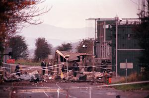Scene in 1990 after Patsy Gillespie was forced to drive a van of explosives to an Army checkpoint