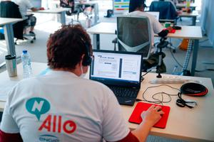 An operator works in a call centre dedicated to Covid-19 tracing in the N-Allo offices in Brussels
