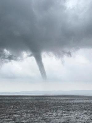 A huge funnel cloud which appeared over the Bristol Channel