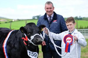 Kile Diamond and ABP sponsor Niall Kearney with Million Dollar Baby, which won the commercial beef championship in Newry