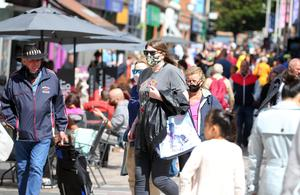 People encouraged by the good weather to go shopping in Belfast city centre