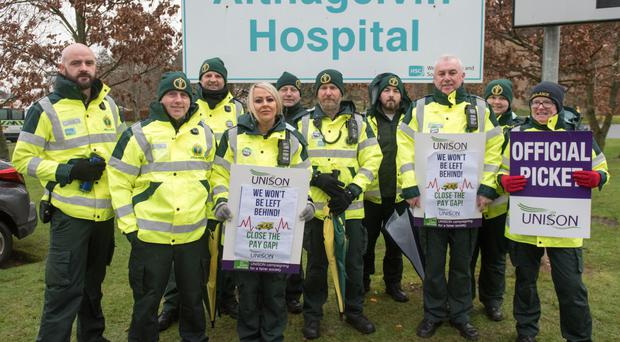 Paramedics who joined the strike action at Altnagelvin Area Hospital