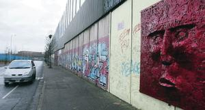 The huge peace wall at Cupar Way dividing the Falls and Shankill
