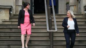 First Minister Arlene Foster and deputy First Minister Michelle O'Neill. (Brian Lawless/PA)