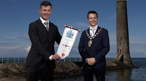 Proud moment: Jonathan Rea with Mayor of Mid and East Antrim, Peter Johnston