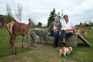 Kenny Gracey from Tandragee and Sara Neill with some of his animals