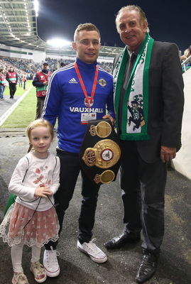 World boxing champion Carl Frampton with daughter Carla and Gerry Armstrong