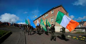 Parades to Creggan Cemetery in Londonderry yesterday
