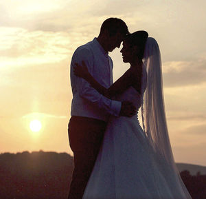 Romantic moments: Gareth McKinstry and Anna Diamond on their wedding day