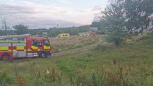 Emergency services at the scene of the incident on Monday