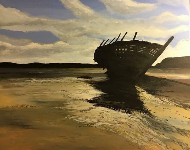 The painting of the boat on the beach at Gweedore, Donegal, by artist Michelle Duffy