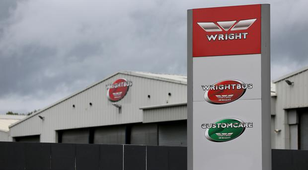 Signage at the Wrightbus plant in Ballymena, Northern Ireland, as the family-owned firm which built London's distinctive red double decker Routemaster buses has gone into administration (Brian Lawless/PA).