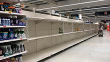 Empty shelves at a supermarket in west Belfast